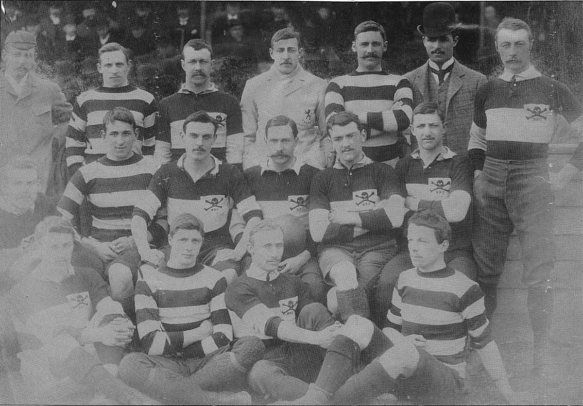 The first photograph of a Barbarian team, v. Devonshire at Exeter, 1 April, 1891. Back row: G. Young, T. Whittaker, W. P. Carpmael, R. L. Aston, R. T. Duncan, P. F. Hancock, W. H. Manfield. Middle row: E. Emley, C.	B. Nicholl, P. Christopherson, A. E. Stoddart (captain), D.W. Evans, P. Maud. Front row: H. Marshall, C. A. Hooper, F. H. Fox, C. J. Vernon.